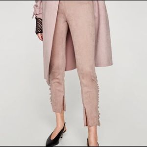 Zara Blush Pink High Waisted Faux Suede Pants